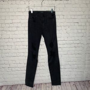 Joe's Jeans High Rise Black Distressed Jeans 28